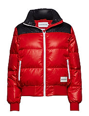 CROPPED DOWN PUFFER, - RACING RED /  CK BLACK