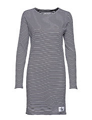 STRIPED RIB DRESS - CK BLACK / WHITE