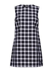 CHECK SHIFT DRESS, 0 - CK BLACK