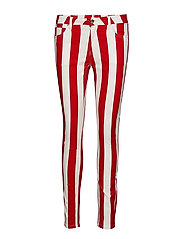 MID RISE SKINNY STRIPE PANT - RACING RED/BRIGHT WHITE