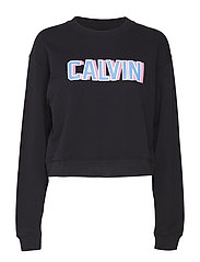 CALVIN LOGO CROPPED CREW NECK - CK BLACK