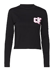 SLEEVE LOGO LS CROPPED TEE - CK BLACK