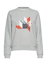 QUILT GRAPHIC CREW N - LIGHT GREY HEATHER
