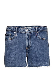 MID RISE WEEKEND SHO - ICONIC MID STONE RAW EMBROIDER