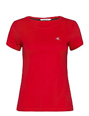CK EMBROIDERY SLIM TEE - RED HOT
