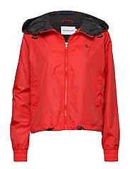 POP COLOUR UNPADDED WINDBREAKER - RACING RED / CK BLACK