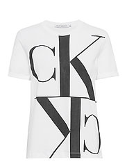 MIRRORED MONOGRAM STRAIGHT TEE - BRIGHT WHITE