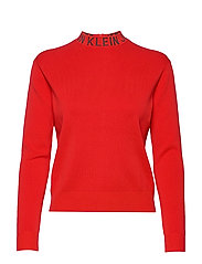 NECK LOGO SWEATER - RACING RED