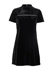 VELVET MOCK NECK DRESS - CK BLACK