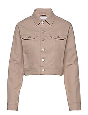 CROPPED TWILL JACKET - CHATEAU GRAY