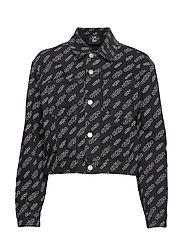 Calvin Klein Jeans CROPPED OMEGA DENIM JACKET - BA300 BLACK AOP