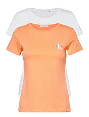 2 PACK SLIM T-SHIRT - CRUSHED ORANGE / BRIGHT WHITE
