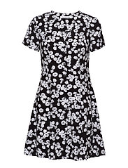 FLORAL  SS DRESS - BLACK WITH WHITE PEONY FLORAL