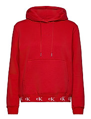 CK LOGO TRIM HOODIE - RED HOT