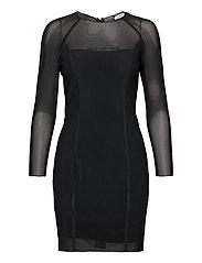 BODY-CON MESH DOUBLE LAYER DRESS - CK BLACK