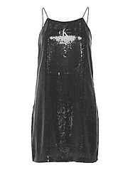 SEQUIN LOGO STRAP DRESS - CK BLACK