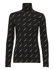 GOLD LOGO STRETCH ROLL NECK - CK BLACK