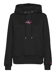 MONOGRAM LOGO HOODIE - CK BLACK/PARTY PINK
