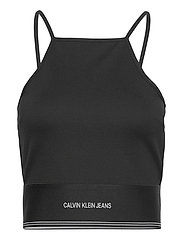 MILANO SQUARE NECK STRAPPY TOP - CK BLACK
