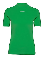 MICRO BRANDING STRETCH MOCK NECK - ACID GREEN