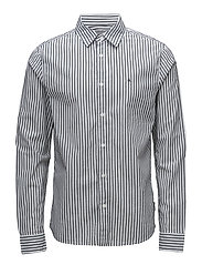 WEASE REG FIT STRIPE L/S SHIRT - BRIGHT WHITE / CK BLACK
