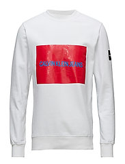 MULTI LOGO FLEECE SWEATSHIRT - BRIGHT WHITE / TOMATO