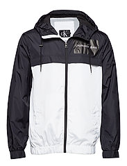 COLOR BLOCK  HOODED JACKET - BRIGHT WHITE
