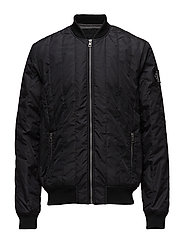 DOUBLE SIDE POCKET QUILTED BOMBER - CK BLACK