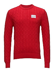 CABLE KNIT COTTON SWEATER - TOMATO