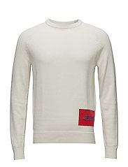 WOOL BLEND INSTITUTIONAL LOGO SWEATER - BRIGHT WHITE