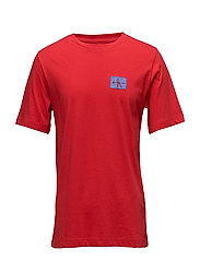 MONOGRAM CHEST BADGE LOGO COTTON TEE - TOMATO