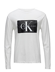 MONOGRAM BOX LOGO COTTON LONG SLEEVE TEE - BRIGHT WHITE