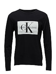 MONOGRAM BOX LOGO COTTON LONG SLEEVE TEE - CK BLACK