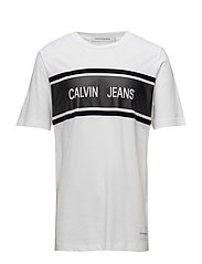 CALVIN JEANS STRIPE REGULAR TEE - BRIGHT WHITE/BLACK