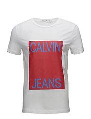 CALVIN JEANS BOX LOG - BRIGHT WHITE / TOMATO