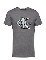 CK MONOGRAM FRONT LOGO SLIM SS - GREY HEATHER