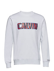 CALVIN LOGO CREW NECK - BRIGHT WHITE