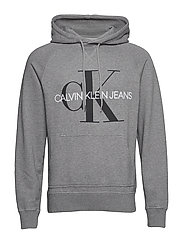 WASHED REG MONOGRAM HOODIE - MID GREY HEATHER