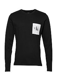 MONOGRAM POCKET SLIM LS TEE - CK BLACK / WHITE