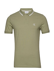 CK ESSENTIAL TIPPING SLIM POLO - EARTH SAGE/WHITE