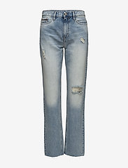 Calvin Klein Jeans - HR straight ankle raw-Tron Blue Des - straight jeans - tron blue destructed - 0