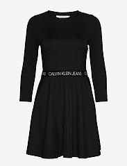 Calvin Klein Jeans - MID SLEEVE MILANO LOGO ELASTIC - hverdagskjoler - ck black - 0