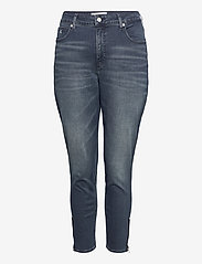Calvin Klein Jeans - HIGH RISE SKINNY ANKLE - skinny jeans - bb234 - blue black logo zip he - 0