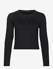 Calvin Klein Jeans - SHINY INST LS CROP TEE - navel shirts - ck black - 0