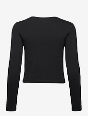 Calvin Klein Jeans - SHINY INST LS CROP TEE - navel shirts - ck black - 1