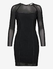 Calvin Klein Jeans - BODY-CON MESH DOUBLE LAYER DRESS - korte kjoler - ck black - 0