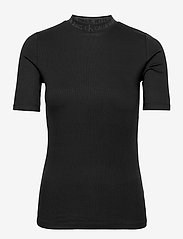 Calvin Klein Jeans - LOGO TRIM RIB TEE - strikkede toppe - ck black - 0