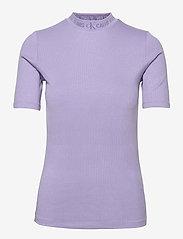 Calvin Klein Jeans - LOGO TRIM RIB TEE - strikkede topper - palma lilac - 0