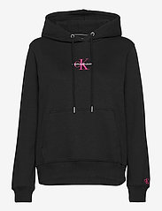 Calvin Klein Jeans - MONOGRAM LOGO HOODIE - hettegensere - ck black/party pink - 0
