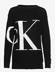 Calvin Klein Jeans - SLICED CK OVERSIZED SWEATER - gensere - ck black - 0